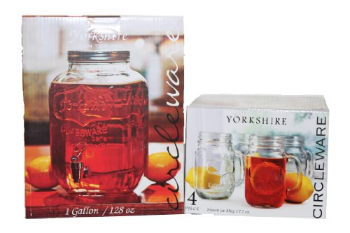 2 Items: Yorkshire Sun Tea Dispenser And Yorkshire Mason Jar Mug 17.5 Oz, 4 Pieces