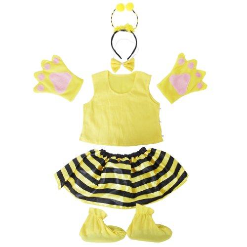 [Yellow Honey Bumble Bee Toddler Girls Kids Costume Set] (Cute Honey Bee Costumes)