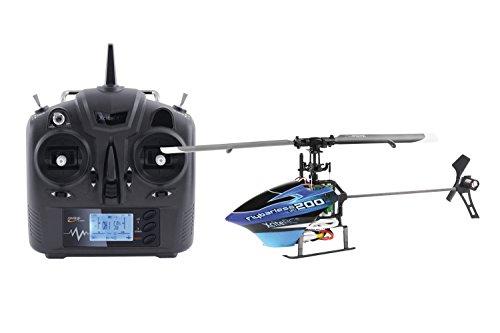 14000100 Ferngesteuerter RC Hubschrauber Flybarless 200 3D RTF 2.4 GHz mit 6Si 6 Kanal Sender, blau/schwarz