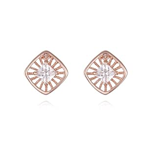 18k Gold Plated Princess Cut Basket Set Cubic Zircon Solitaire Stud Earring in Square Shape E409