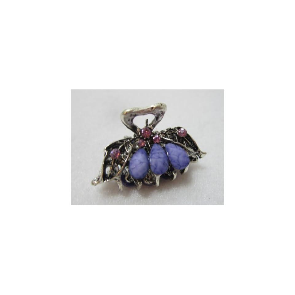 Small One Inch Silver Metal Clip Claw   Lavender Purple