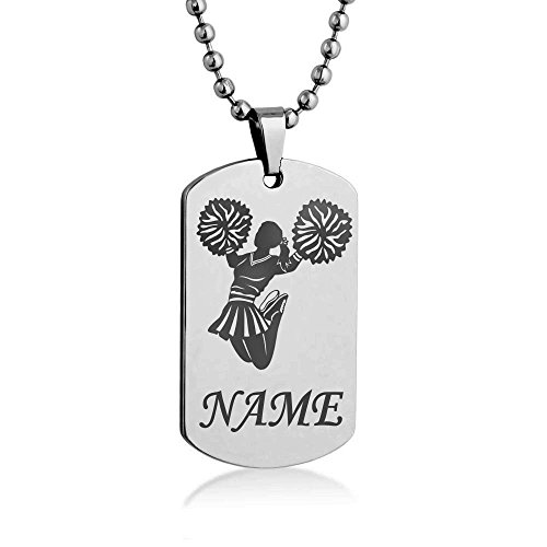 cheerleader-silhouette-costumize-engrave-dog-tag-necklace-pendant-24-inch-stainless-steel-ball-chain