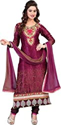 silvermoon fashion women's Georgette Embroderied Unstitched Dress Material -1035_pink_Freesize