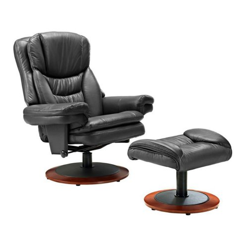 Mac Motion Mac Motion Brute Leather Swivel Recliner With Ottoman, Brown, Leather