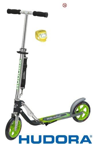Hudora Scooter / Roller / Cityroller Big Wheel MC / RX 205 mit LENKERLICHT (NEONGRÜN / GRÜN)