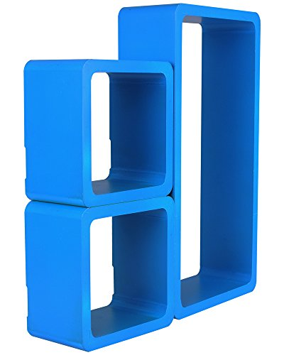 3er Set Regal Wandregal Bücheregal Hängeregal Cube Retro Regale Blau 9215