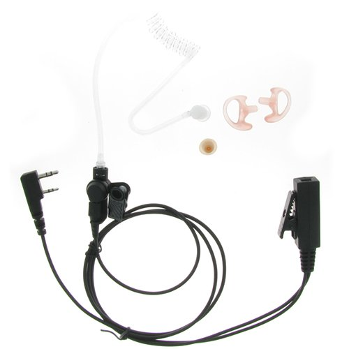 3' 2-Wire Coil Earbud Audio Mic Surveillance Kit For Kenwood Two-Way Radio 2-Pin Connector Tk270 Tk370 Tk3140