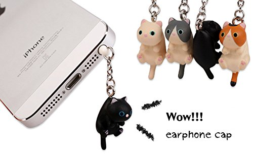 iAnko 4 Pcs (Whole Set) Little Lovely Cute Fat Cat Dust Plug Stopper Universal 3.5mm Anti Dust Earphone Jack Plug Cap for Iphone4/4s/5/6/6 Plus,ipod,ipad,htc,samsung S3 S4 S5 (S5 Anti Dust Plug compare prices)