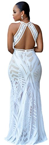 TomYork Lace Nude Illusion Key-Hole Back Maxi Dress