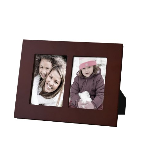 Adeco Decorative Walnut Color Wood Divided Picture Photo Frame, 3.5 X 5-Inch