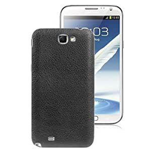 Litchi Texture Paste Skin Replacement Plastic Battery Cover for Samsung Galaxy Note II / N7100 (Black)