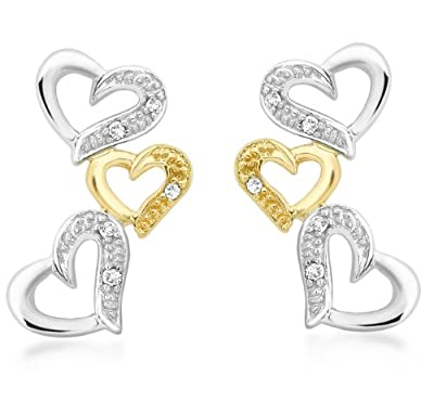 Carissima 9ct Two Colour Gold 0.06ct Diamond Set Triple Heart Earrings