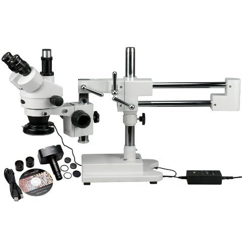 Amscope Sm-4Tz-144-3Mt Digital Professional Trinocular Stereo Zoom Microscope, Wh10X Eyepieces, 3.5X-90X Magnification, 0.7X-4.5X Zoom Objective, 144-Bulb Led Ring Light, Double-Arm Boom Stand, 110V-240V, Includes 0.5X And 2.0X Barlow Lenses And 3Mp Camer