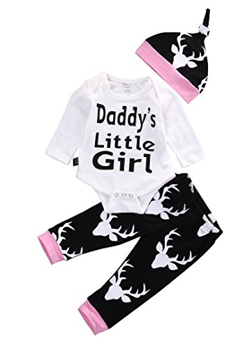 Baby Girls Daddy's Little Girl Long Sleeve Bodysuit and Deer Pants Outfit with Hat (0-3M, White+Black)