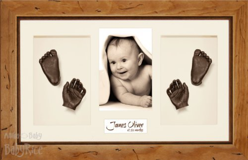 """Babyrice Large Baby Casting Kit (Great For Twins!), 14.5X8.5"""" Rustic Pine Frame, Cream Mount, Bronze Metallic Paint"""