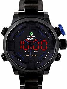 Alienwork DualTime Analog-Digital Armbanduhr XXL Oversized LED Uhr Multi-funktion Edelstahl schwarz schwarz OS.WH-2309-B-4