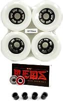 83mm Pro Longboard Wheels w/ Bones Bearings & Spacers (White)