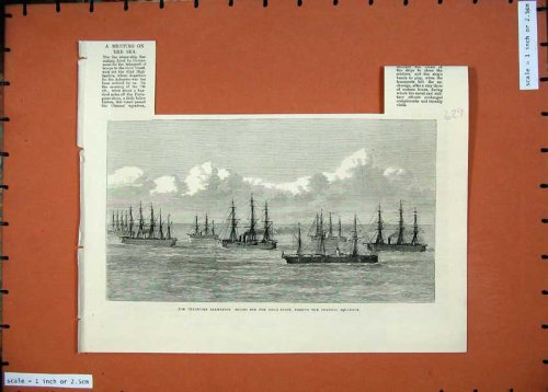 1874 Transport Sarmatian Gold Coast Channel Ships Print