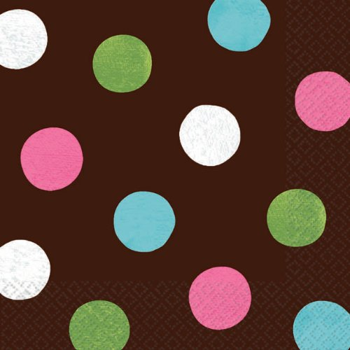 "Amscan Disposable Beverage Paper Napkins in Polka Dots (16 Piece), 5"" x 5"", Brown"