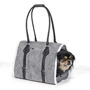 Zack & Zoey Polyester Deluxe Sherpa Small Pet Carrier, Small, Gray