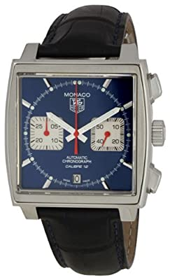 TAG Heuer Men's CAW2111.FC6183 Monaco Calibre 12 Automatic Chronograph Blue Alligator Strap Watch