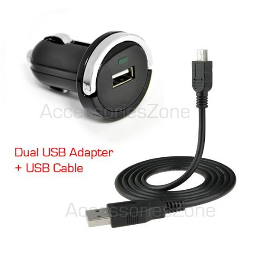 For Tomtom One 300 340-S 510 325 330 335 / Go 540 740 940 630 730 930 Gps Vehicle Power Car Charger Adapter + Usb Data Charging Cable