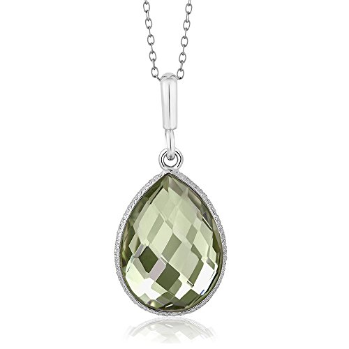 Genuine Green Pear Shaped Amethyst in 925 Silver Pendant