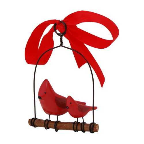 Rosso's International WB1 Cardinals on a Swing Birdhouse Ornament, 4 by 3 by 6-Inch, Set of 3
