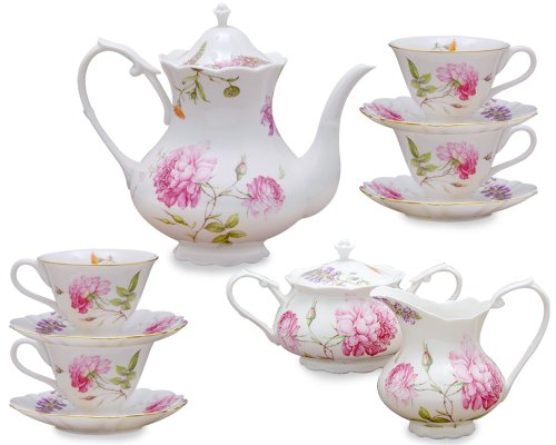 Gracie China Dahlia Porcelain 11-Piece Tea Set
