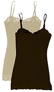 Zenana Women's Lace Trim Tank Top,Medium,Heather Beige/Brown: 2 PK from Zenana Outfitters