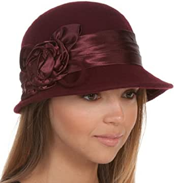 EH1121LC - Womens Vintage Style 100% Wool Cloche Bucket Winter Hat with Satin Flower Accent ( 6 Colors ) - Burgandy/One Size
