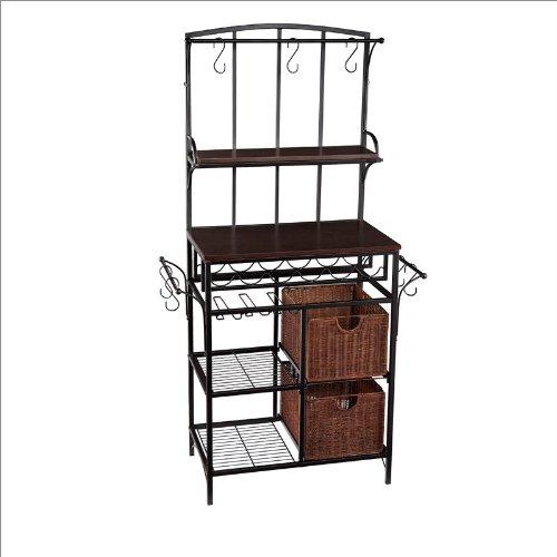 Southern Enterprises Metal Storage and Wine Rack with Rattan Storage Baskets