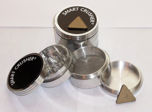 SMART CRUSHER 2.5 4PCS LARGE ALUMINUM Tobacco Herb Spice GRINDER + FREE Pollen scrapper