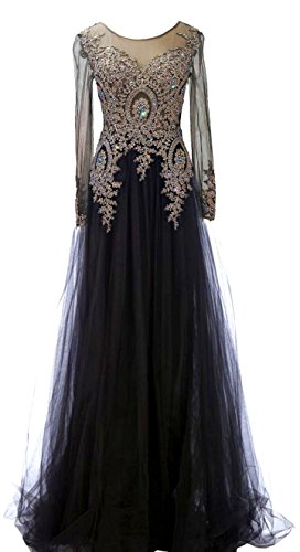 Rongstore Women's Long Sleeve Formal Evening Gown Tulle Prom Dress Black US1