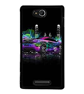 Fuson Premium 2D Back Case Cover stylish car With Multi Background Degined For Sony Xperia C