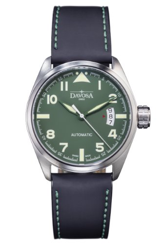 Davosa Military Men's Automatic Watch with Green Dial Analogue Display and Black Leather Strap 16151174