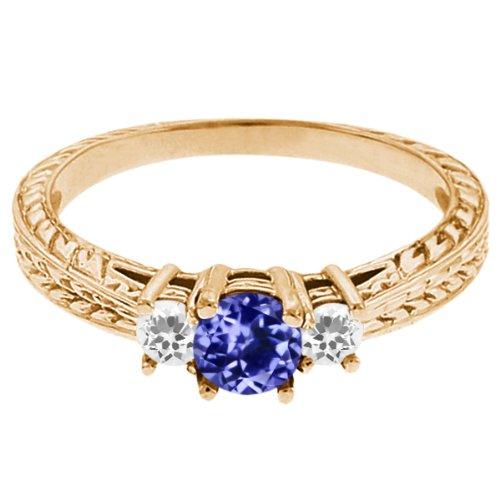 0.56 Ct Round Blue Tanzanite White Sapphire 14K Yellow Gold 3-Stone Ring