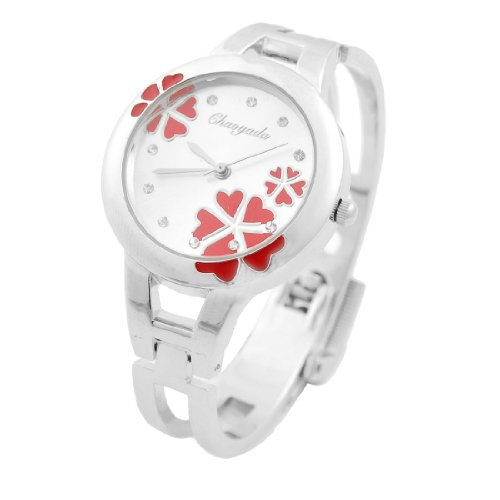 Women Red Flower Heart Decor Silver Tone Band Bracelet Watch