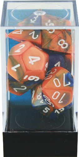 Chessex Polyhedral 7-Die Gemini Dice Set: Blue & Orange with White (d4, d6, d8, d10, d12, d20 & d00) CHX-26452