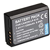 Digital SLRs Accessories LP-E10 LPE10 LP E10 Li-ion Battery for Canon EOS 1100D, E0S 1200D, Kiss X70, Kiss X50, EOS Rebel T5, EOS Rebel T3, Digital SLR Camera Battery Also for Charger LC-E10E