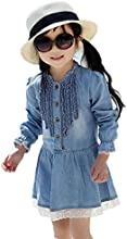 Girls Kids Child Casual Denim Blue Beautiful Lace Princess Dress Freeship 2-8y