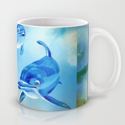 Society6 - Floating Free - Dolphins Coffee Tea Mug By Patricia Howitt