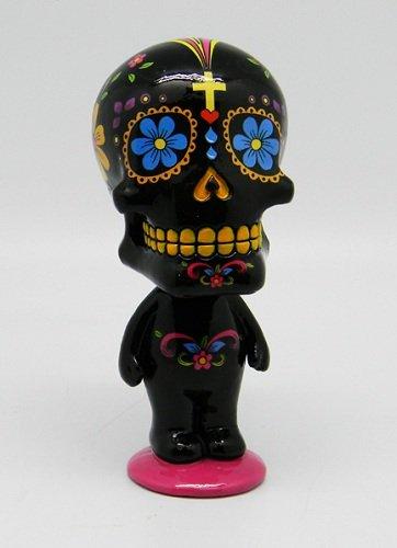 Black Sugar Skull Man Mexican Day of the Dead Bobble Head Figurine