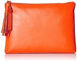 LOEFFLER RANDALL Tassel Pouch Nappa Leather Clutch, Tangerine, One Size