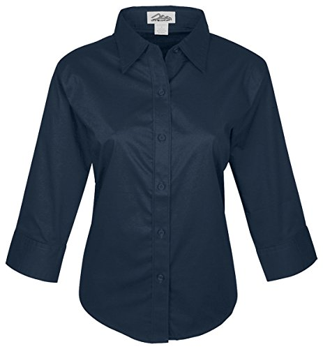 Tri-Mountain Women'S Flattering Fit 3 4 Sleeve Woven Shirt_Navy_Xx-Large front-515095