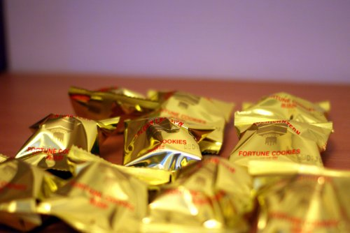 100 Gold Wrapped Fortune Cookies - Chinese New Year - Wedding Favours