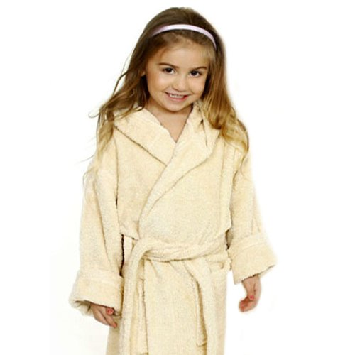 Royal Resort Collection: Luxury Hooded Robe - Terry Loop Kids Bathrobe, 100% Turkish Cotton, Color: Natural Beige, Size: (3-6 yo), UNISEX