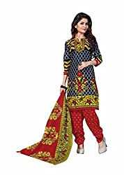 Aarti Apparels Women's Cotton Unstitched Dress Material_BeautyQueen-1_Grey and Red