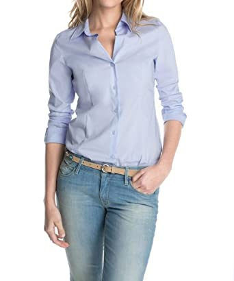 ESPRIT Collection Damen Regular Fit Bluse, Gr. 42, Blau (CLEAR BLUE 444)