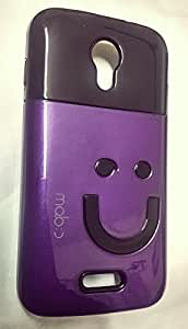 Black + Purple Rubberized Glossy Hard + Soft Back Cover for Micromax Canvas A114
